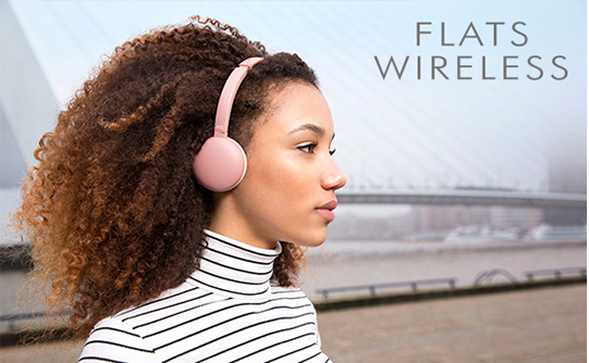 de901f53f79 In a two-shade design of trendy smoky Colors, the headphones have the cool  appeal of a fashion item. Wear the lightweight FLATS WIRELESS around your  neck, ...